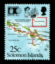 Map of the Solomon Islands on a postage stamp