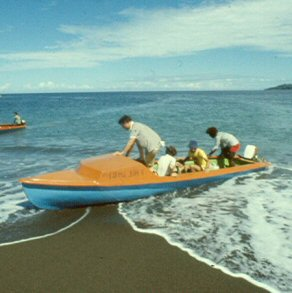 A outboard canoe