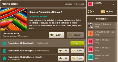 Inside Livemocha: Earn points to buy lessons so you can learn Spanish free online.