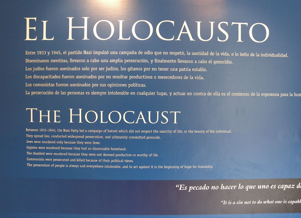 El Holocausto exhibit at Templo Sefaradi, Havana, Cuba