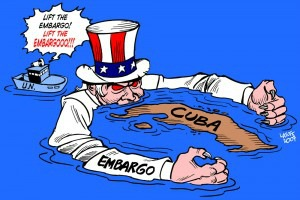 Cuban embargo editorial cartoon