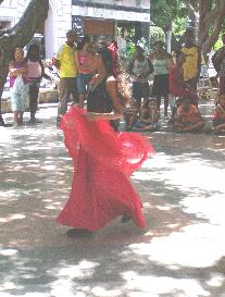 Cuban Girl in Red Dress Dancing