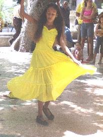 Cuban Girl in Yellow Dress Dancing