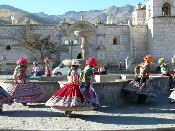 Folk dancers in Yanque, Peru