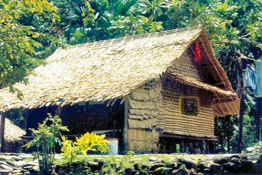Leaf house in a Solomon Islands village
