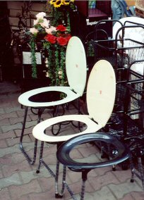 Toilet seats for sale at a local shop.  Don't ask where these are used.