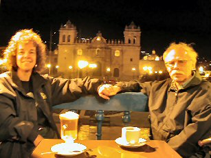 Sharing coffee time looking over the plaza in Cusco