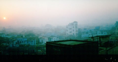 Sunrise over Delhi – Visibility is poor due to pollution in the air