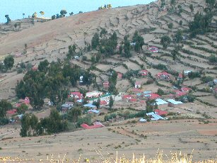 Red roofs for ecotourism travel in Amantani