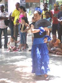 Cuban Girl in Blue Dress Dancing