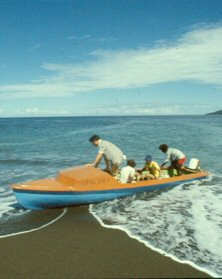 Fiberglass canoe in the South Pacific
